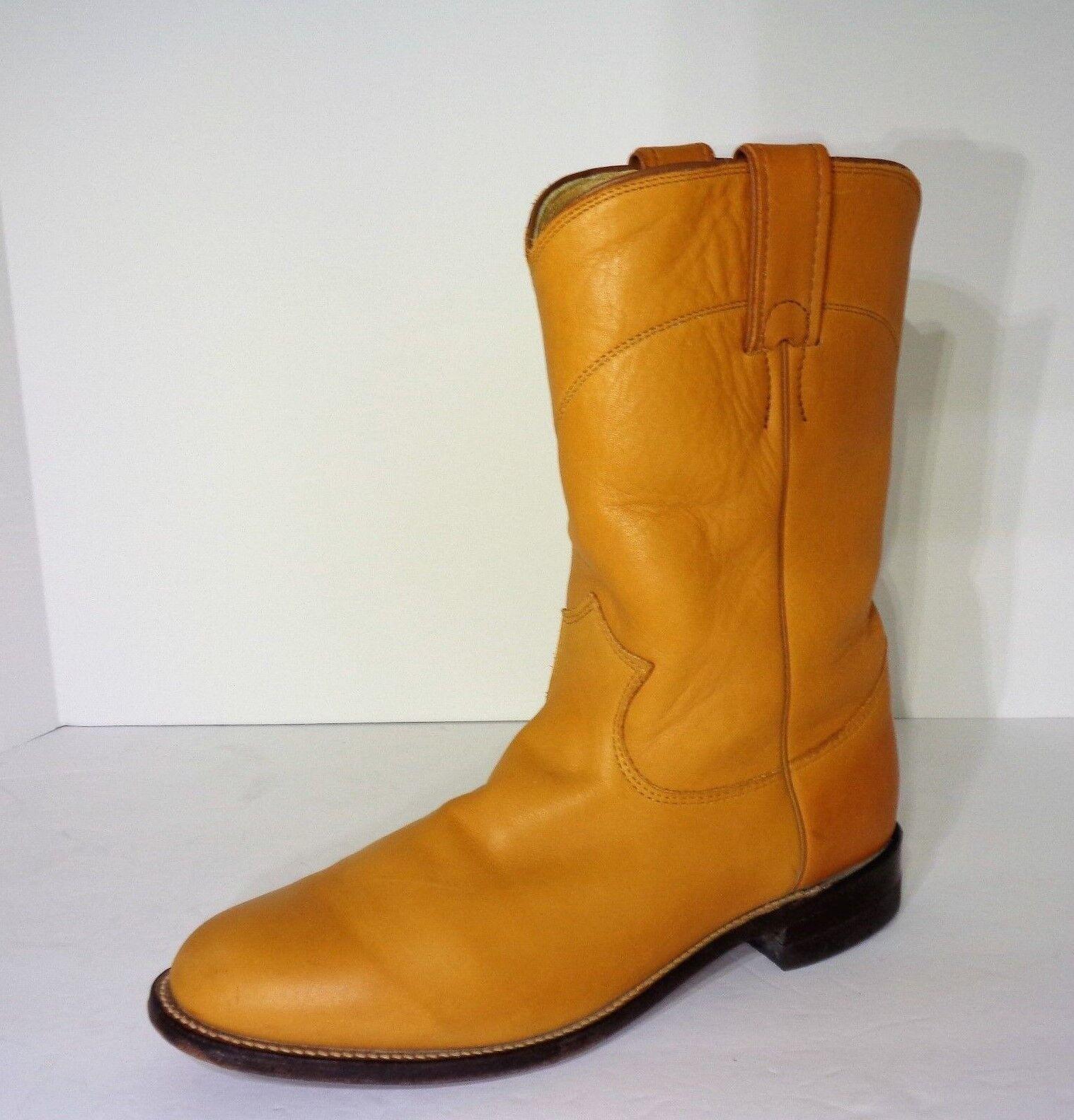 Rare  Mint  Vintage JUSTIN Ripe Mango Tan color Boots Womens Size 8 B USA