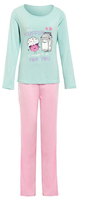 Ladies Pyjamas 100% Jersey Cotton T-shirt Light Green Pink Pants Lounge Pjs Size