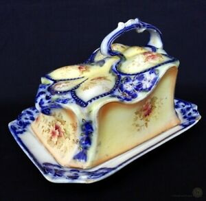 Antique-W-amp-R-Carltonware-Blue-Flow-And-Blush-Cheese-Dish-FREE-Delivery-UK
