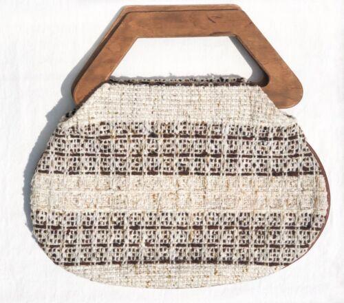 Vtg Fabric & Wooden Handle Oatmeal Colored Boho Mi