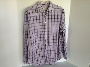 Pronto-Uomo-Mens-Large-Lavender-Check-Long-Sleeve-Dress-Shirt