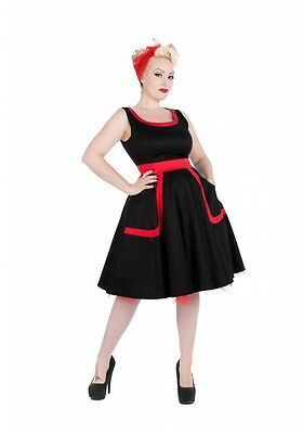 H & R London Housewife Lucy dress Pinup Red Tulle Swoop Neck 50s 9425 Viva Las