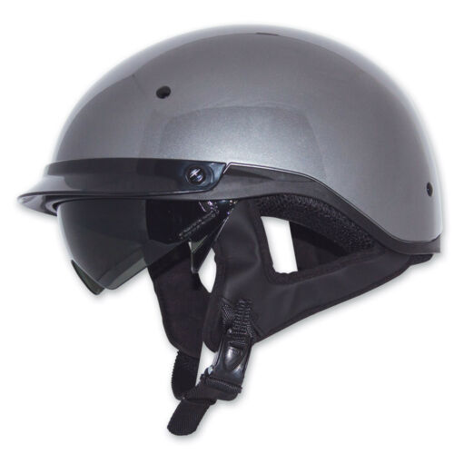 ZOX Roadster DDV Silver Titanium Motorcycle Half Helmet w// Pull Smoke Shield 2XL