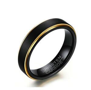Men-Women-Matte-Black-Tungsten-Carbide-Ring-Gold-Plating-Band-5MM-Size-6-12