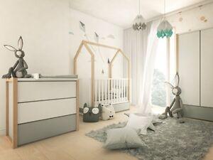 Babyzimmer weiß grau  PINETTE Babyzimmer Bellamy Weiß Grau Natur Massivholz moebel88 ...