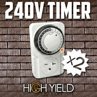 2 Pcs 240 Volt Grow Light Timer 24hr 1 Outlet 24 Hour 240v Programmable Control
