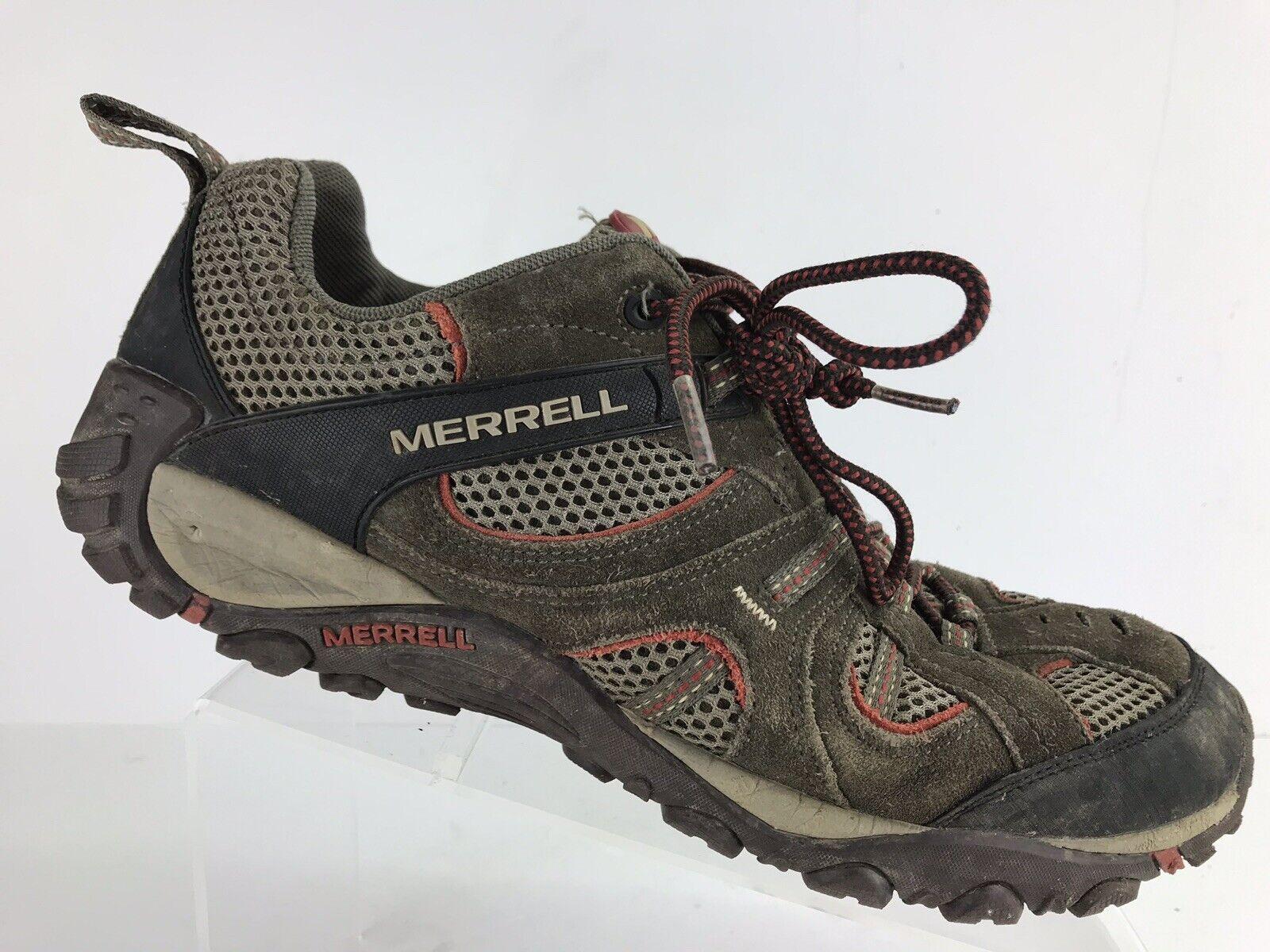 Merrell Mens Sz 12 Yokota Trail Vent Hiking shoes Bungee Cord red Ochre J148531c