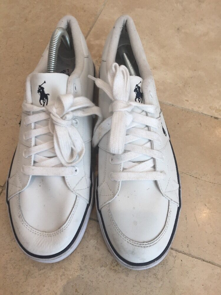 Polo Men's White Striped bluee Lace Up Trainers