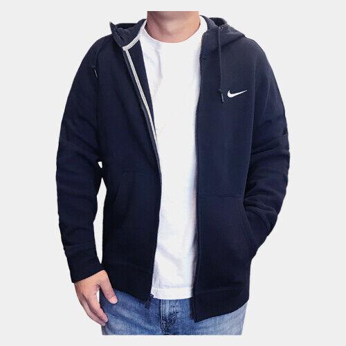 Nike Men's Sportswear Club Fleece Full Zip Navy Hoodie (823531 451) SMLXLXXL