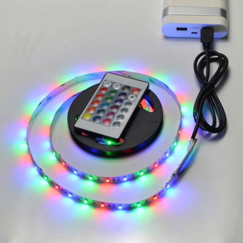 5050 RGB LED Strip Light Bar TV Back Lighting Kit+USB Remote Control 5V 60SMD//M