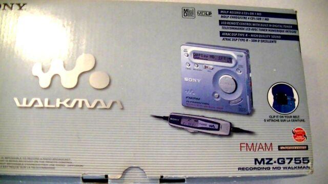 VINTAGE SONY MD MINIDISC WALKMAN RECORDER MZ-G755 with AM/FM radio