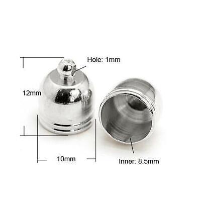 Packet 10 x Antique Silver Metal Alloy Barrel End Caps 8 x 15mm HA12030