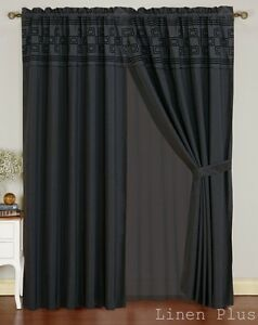 Details about new black flocked curtain panel window covering drapes