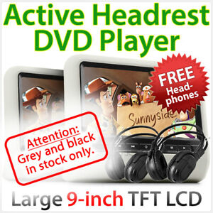 """2x 9"""" In Car LCD Monitor Active Headrest DVD Player Game Screen MP4 USB SD OZ"""