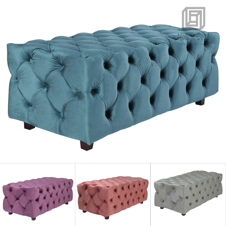 Tufted Velvet Fabric Rectangle Ottoman Bench Foot Rest Stool For Living Room