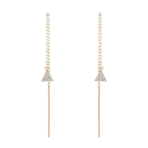 Details about  /Fine Women 14K Rose Gold Hand Made CZ Triangle Pyramid Threader Drop Earrings