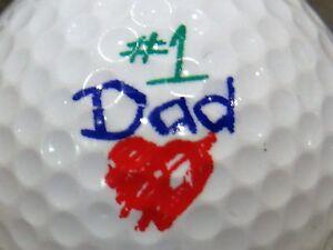 (1) Papa #1 Fête Des Pères Logo Balle De Golf-afficher Le Titre D'origine