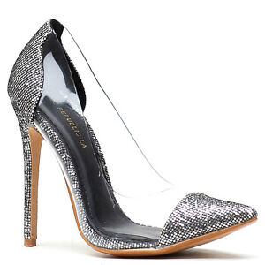 1bd1164e70a Shoe Republic Black Gold Silver Glitter Pump PVC Heels Women s shoes ...