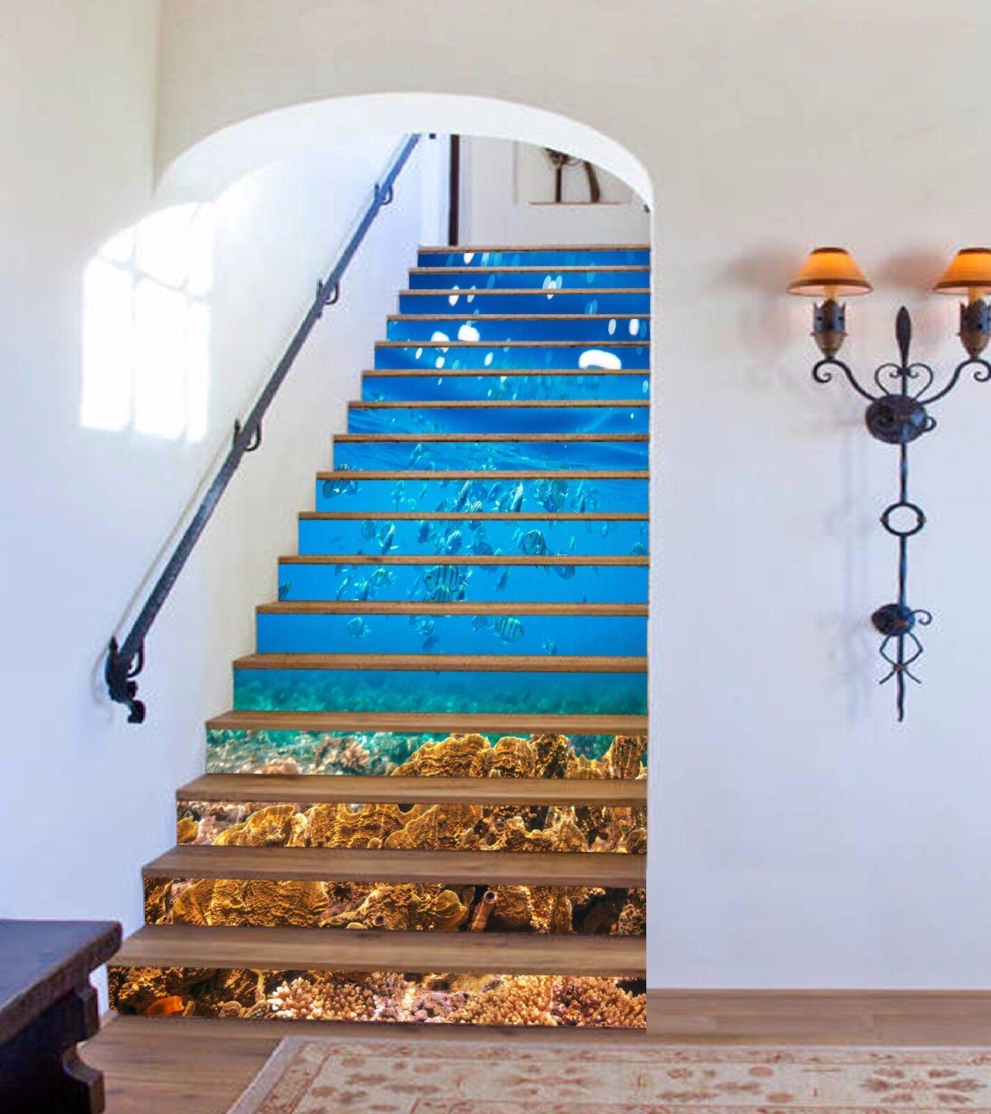 3D bluee ocean 33 Risers Decoration Photo Mural Vinyl Decal Wallpaper US
