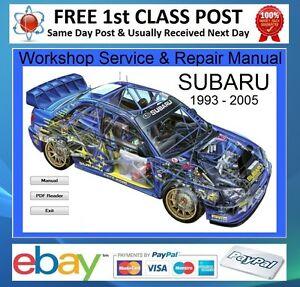 subaru impreza wrx sti 1996 2005 workshop repair manual on cd ebay rh ebay com 2005 subaru impreza wrx service manual 2005 subaru impreza wrx owners manual