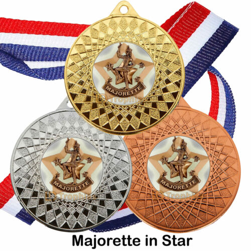Majorette Trophy Awards Packs 10 Drum Majorette Medals /& Ribbons Packs 25 50