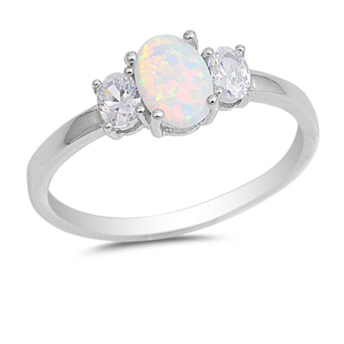 Clear CZ White Lab Opal Solitaire Ring New .925 Sterling Silver Band Sizes 4-10