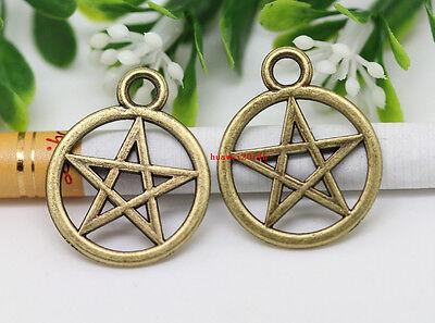 Wholesale 20/40pcs Bronze Gothic wicca Charm pentagram Amulet pendant 25x20mm