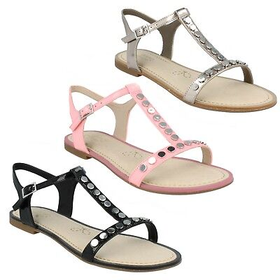 fd92fa779 Ladies Clarks Flat Studded Buckled Summer Sandals Sail Festival UK 3 Black  D