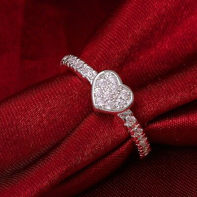 Size 7/8 White CZ Heart Shaped Ring Wedding Band Women's 925 Silver Jewelry