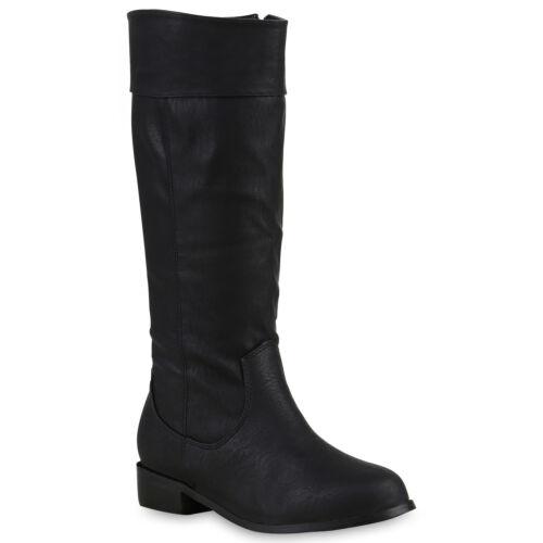 892743 Flache /& Warme Damen Stiefel Nieten Leder-Optik Schuhe Gefüttert New Look