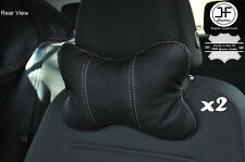 2X GREY STITCH BLACK LEATHER LUXURY HEADREST PILLOW NECK REST CUSHION PAD