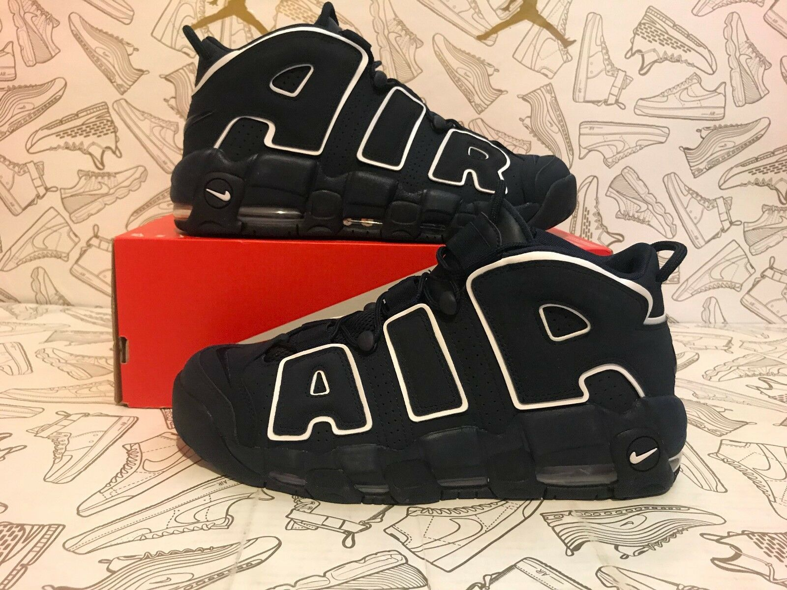 NEW AIR AUTHENTIC NIKE AIR NEW MORE UPTEMPO  96' OBSIDIAN NAVY WHITE 921948-400 SZ 11.5 8866b5