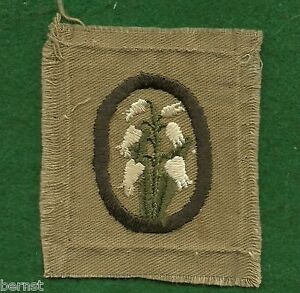 VINTAGE GIRL SCOUT - FULL SQUARE KHAKI TROOP CREST - LILIES OF THE VALLEY