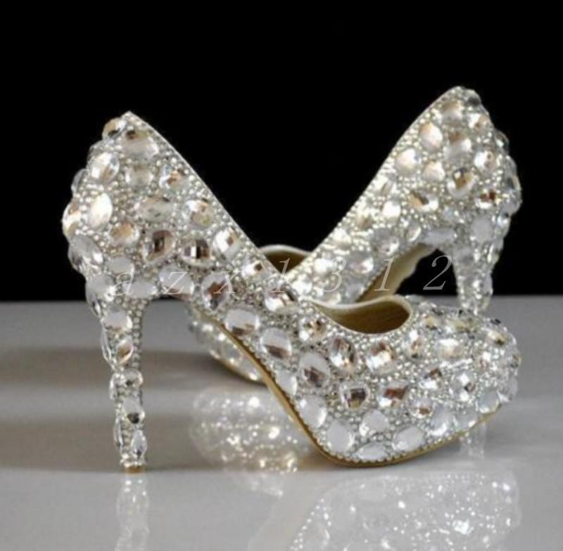 Hot Womens Bling Rhinestone High Heels Bridel  Wedding White pumps party shoes