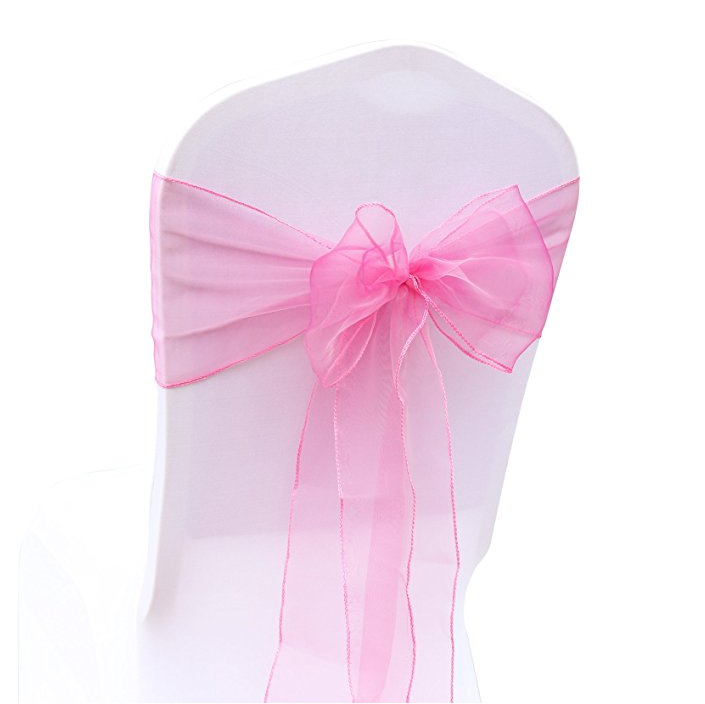 Rose rose organza chair sashes chair ties bows ribbon wedding anniversary decor