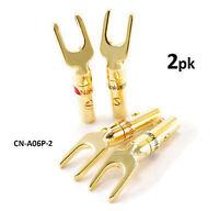 2-pack Spade Fork Plug Screw Type Speaker Wire Connectors Black/red Pair