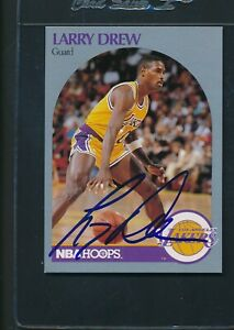 1990/91 Hoops #155 Larry Drew LA Lakers Signed Auto *A1044
