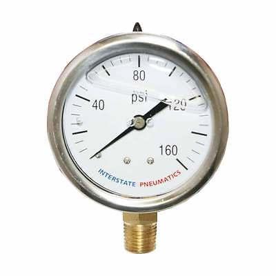 "Oil Filled Pressure Gauge 160 PSI 2-1/2"" Dia 1/4"" NPT Bottom Mount - G7022-160"