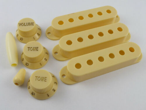 KNOBS /& TIPS in 4 Colours for Stratocaster guitars PICKUP COVERS 52mm or 50mm