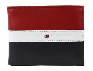 3a9d85f2c0d Tommy Hilfiger Men's Leather Wallet Passcase Rfid Red Navy White ...