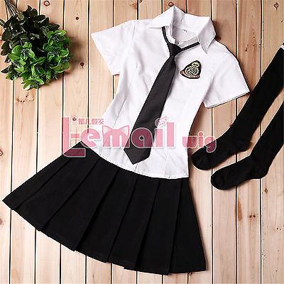 Girls Maid Cosplay Kostüm Japanese School Student Uniform Sailor Dress+Socks