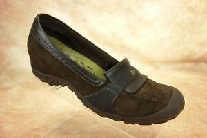 Merrell-Plaza-Moc-Dark-Coffee-Suede-Leather-Slip-On-Loafers-Shoes-Womens-Size-10