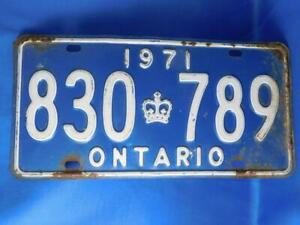 ONTARIO-LICENSE-PLATE-1971-830-789-VINTAGE-CANADA-CROWN-MUSCLE-CAR-SHOP-SIGN
