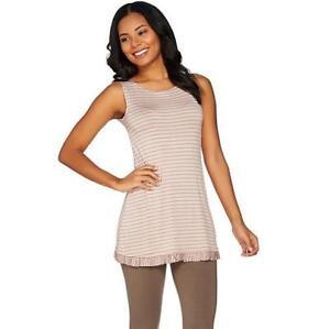 LOGO-Layers-by-Lori-Goldstein-L-Sandstone-Heather-Stripe-Knit-Tank-w-Ruffle-Hem