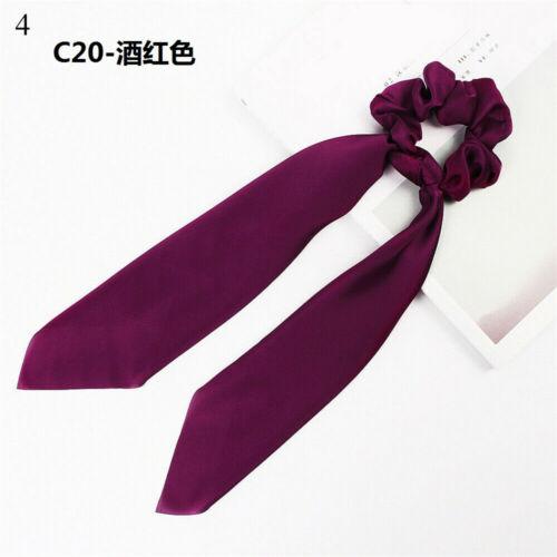 Cute Bow Satin Long Ribbon Ponytail Scarf Hair Tie Scrunchies Elastic Hair Rope