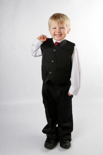 Boys Black Suit Value 5 Piece Wedding Prom Funeral Age 1-15 Years BNWT