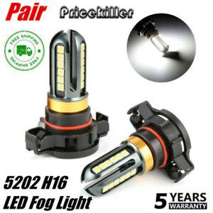 2x-5202-H16-LED-Fog-Light-Bulbs-set-6000K-Xenon-White-100W-16000LM-High-Power-amp