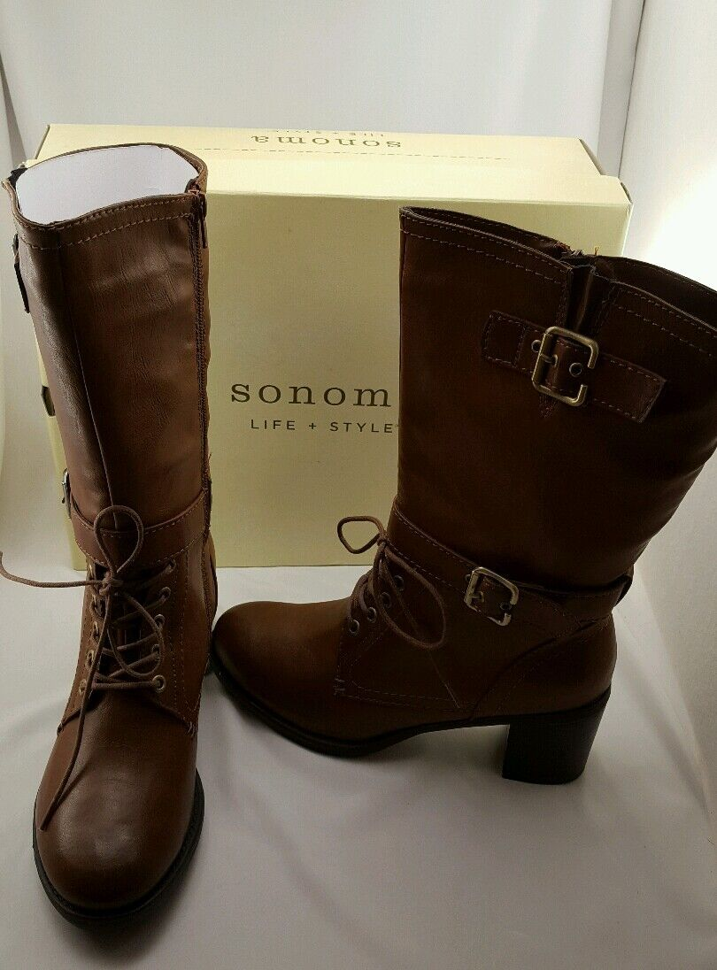 Sonoma Women's Boots Heeled Lace Up Buckle Zip Up Brown Size 10 NEW w/ Box