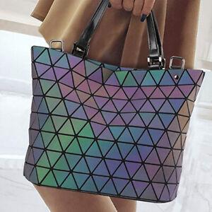 Luminous-Womens-Geometric-laser-Tote-Shoulder-Bags-Laser-Plain-Folding-Handbag
