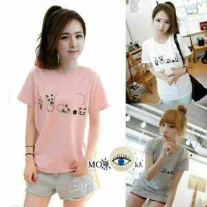 Women-Lady-Girl-Cute-Cats-Animals-Kawaii-Tops-T-Shirts-Casual-Blouse-Short-Shirt